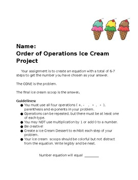 Order of Operations Ice Cream Scoops
