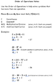 Order of Operations, Integer, Expressions and One Step Equ