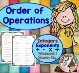 Order of Operations Integers Exponents Add Subtract Multiply Divide Worksheet
