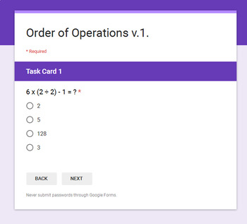 Order of Operations - Interactive Digital Task Cards - Google Forms