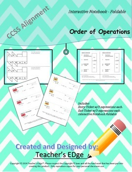 Order of Operations - Interactive Notebook Foldable