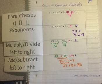 Order of Operations Interactive Notebook Foldable PEMDAS