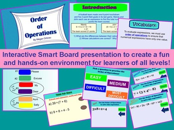 Order of Operations Interactive SMARTboard and Foldable