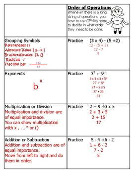 Order of Operations Intervention Foldable