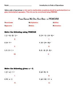 Order of Operations Introduction for Algebra or Pre-Algebra