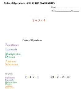 Order of Operations Lesson