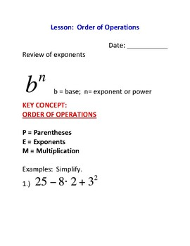 Order of Operations Lesson Plan