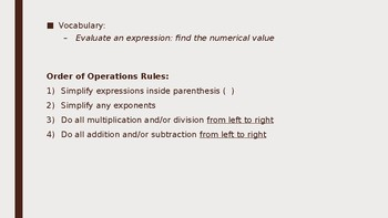 Order of Operations Lesson Plan (PreAlgebra)