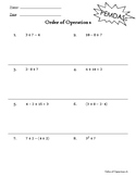 Order of Operations Leveled Worksheets - Positive Numbers Only