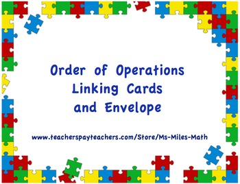 Order of Operations Linking Cards and Envelope