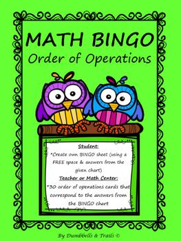 Order of Operations MATH Bingo