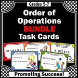 Order of Operations Task Cards, 5th Grade Math Review BUNDLE