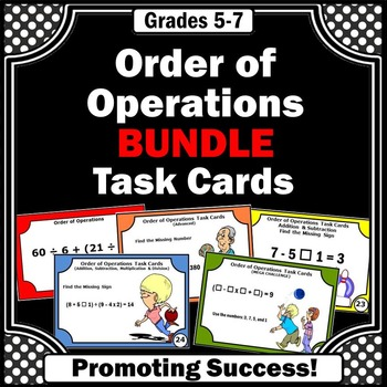 Order of Operations Task Cards BUNDLE 5th 6th Grade Math G
