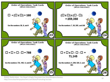 Order of Operations Task Cards with Parenthesis, 5th Grade Math Centers