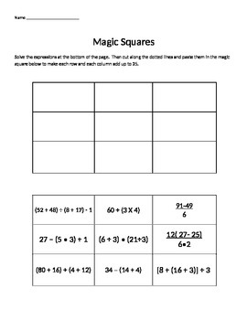 Order of Operations Magic Square