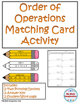 Order of Operations Matching Card Activity Includes Exponents