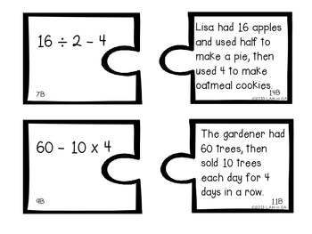 Order of Operations Matching Centers, Response Sheets and Student Notes