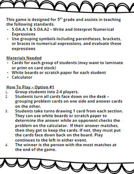 5th & 6th Grade Order of Operations Game -5.OA.1