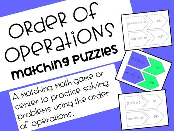 Order of Operations Matching Game