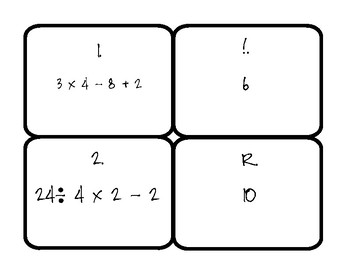 Order of Operations Matching Game (5.OA.1)