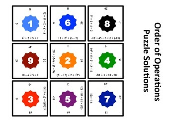 Order of Operations Matching Puzzle