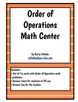 Order of Operations Math Center