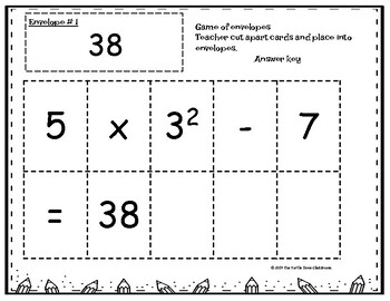 Order of Operations Math Center Game and cut, arrange activity