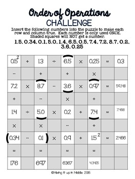 Order of Operations Math Challenges 3 Different Levels
