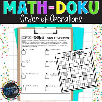 Order of Operations Math-Doku; Algebra 1, Sudoku
