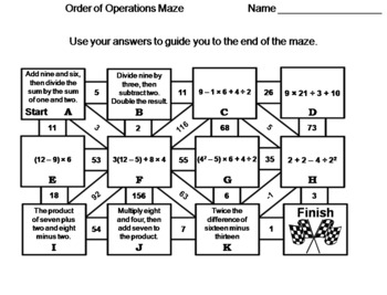 Order of Operations: Math Maze