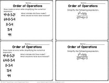 Order of Operations Math Notebook and Exit Tickets