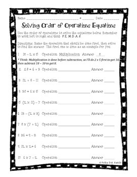 Order of Operations Math Notes & Practice Problems - 3rd Gr. Common Core Aligned