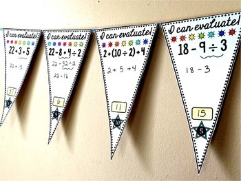 Order of Operations Math Pennant (younger kids)