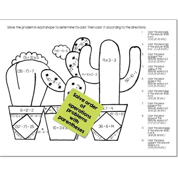 Order of Operations Math Practice Cactus Color by Number