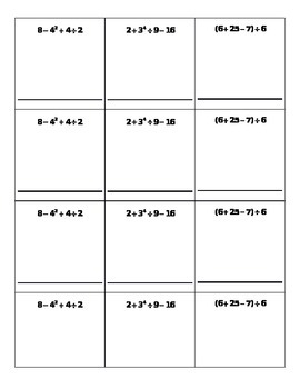 Order of Operations Math Sprints