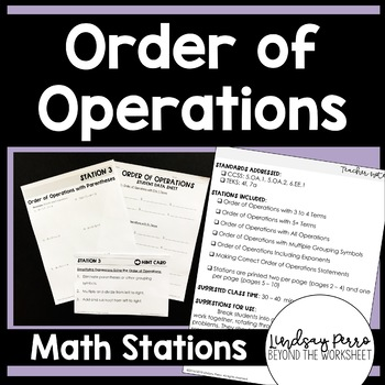 Order of Operations Middle School Math Stations