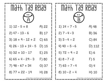 Order of Operations Math Tag Relay