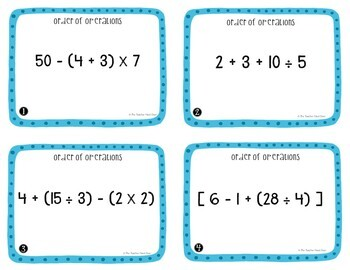 Order of Operations Task Cards for 5th Grade
