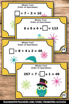 5th 6th Grade Order of Operations Task Cards, Winter Math Activities