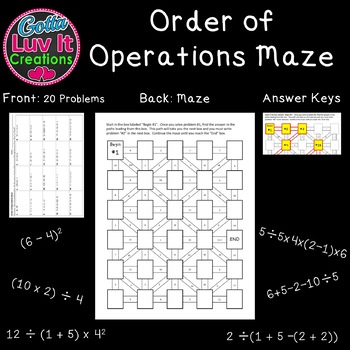 Order of Operations 2 Mazes Great Math Review for end of year