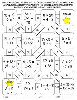 Order of Operations Maze Activity