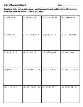 Order of Operations Maze II Activity