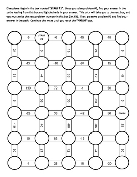 Order of Operations Maze III Activity (includes negative solutions)