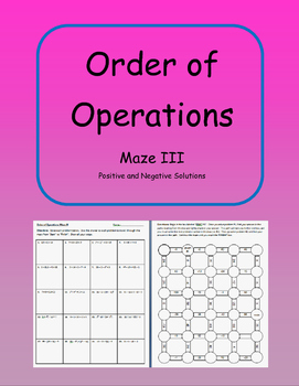Order of Operations Maze III Activity (includes negative s