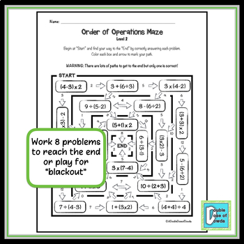 Order of Operations Worksheet - Level 2