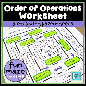 Order of Operations Worksheet - Level 3
