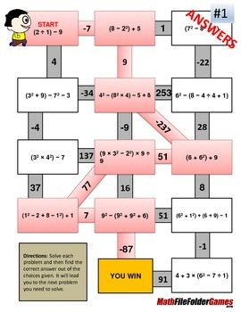 Order of Operations Maze - Level 3b - WITH Parentheses/Brackets AND Exponents