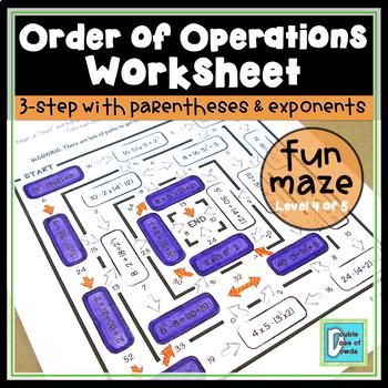 Order of Operations Worksheet - Level 4