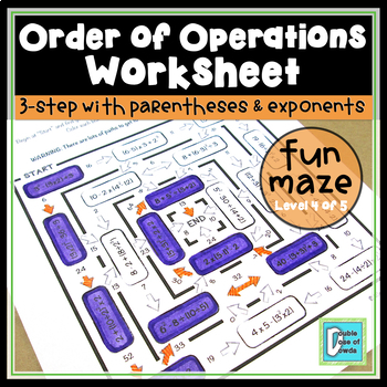 Order of Operations Worksheet - Level 4