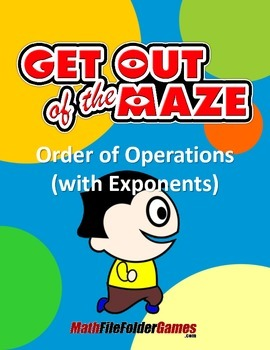 Order of Operations Maze WITH Parentheses/Brackets AND WITH Exponents